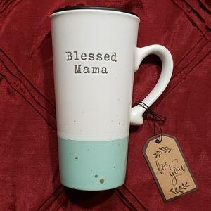 """Blessed Mama"" Coffee/Tea Mug with Lid"
